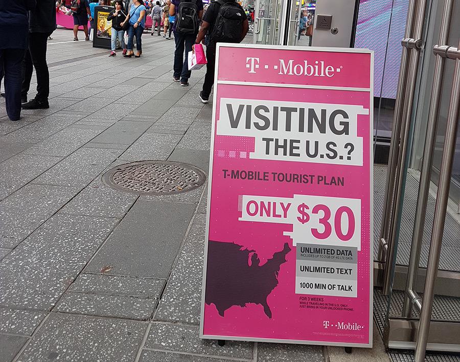 Letrero del Plan Turista de T-Mobile en Times Square - Foto de AHM