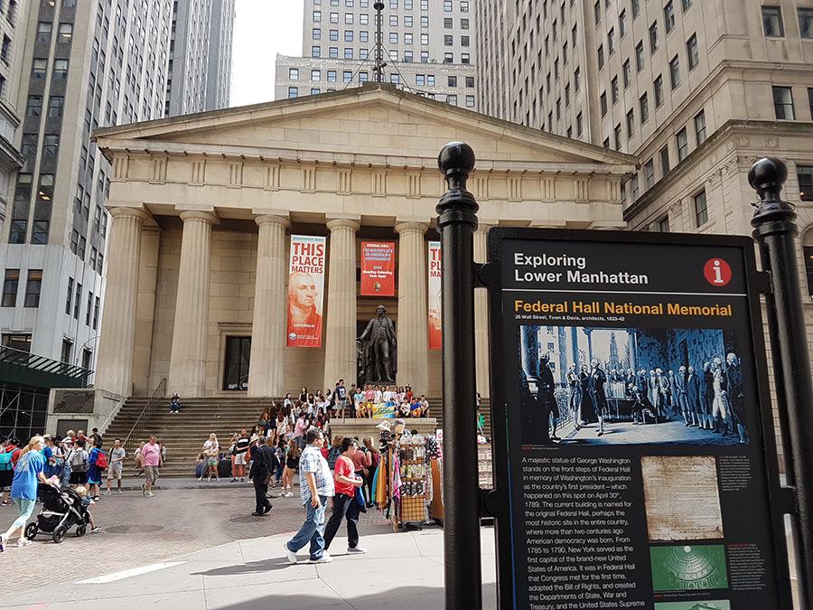 Fachada del Federal Hall National Memorial, edificio histórico. Foto de Andrea Hoare Madrid