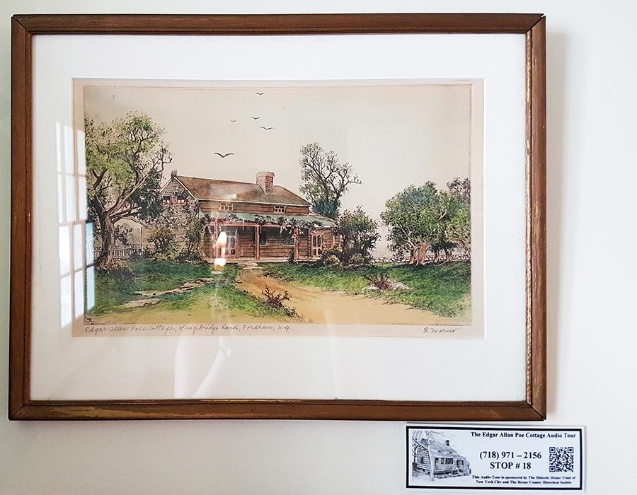 Ilustración de la Casa de Edgar Allan Poe en Nueva York en la época en que el escritor la habitó. Cuadro expuesto al interior del Edgar Allan Poe Cottage - Foto de Andrea Hoare Madrid