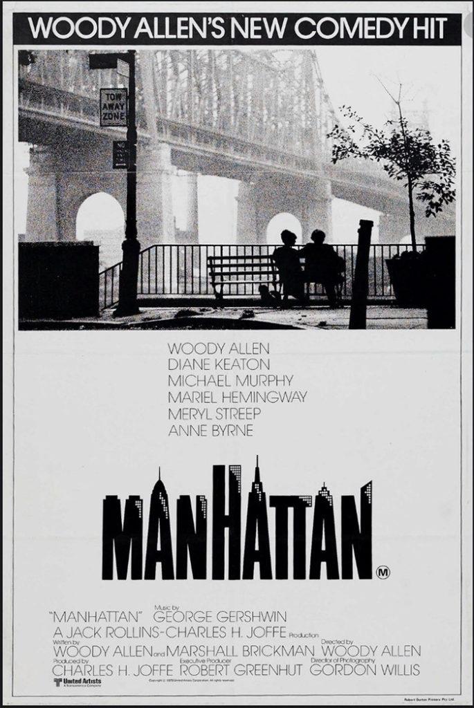 Poster de la película Manhattan de Woody Allen donde se ve la Riverview Terrace y el Puente de Queensboro.