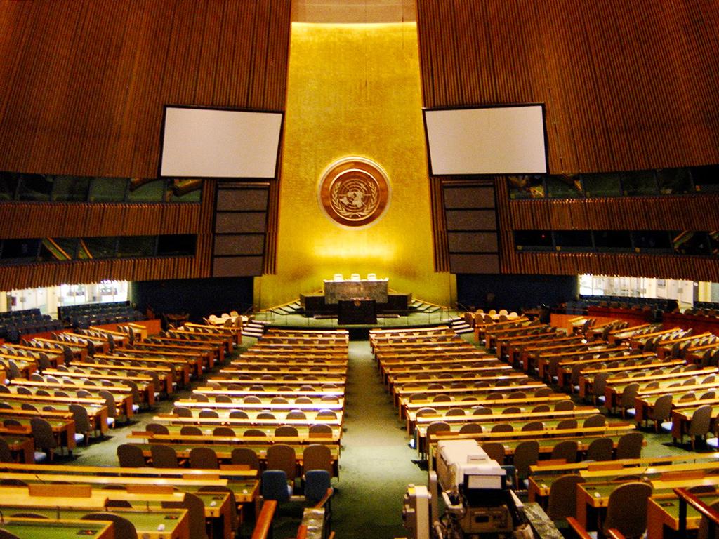 Interior del hemiciclo o la Sala Plenaria de la Sede Internacional de la Organización de las Naciones Unidas en Nueva York, ONU, UN, United Nations - Foto de Andrea Hoare Madrid