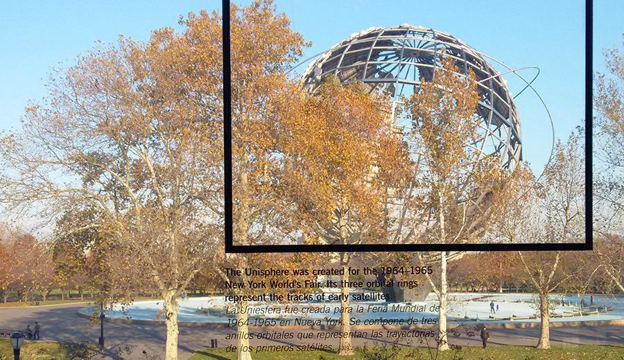 La Uniesfera vista desde el interior de los ventanales del Museo de Arte de Queens - Foto de AHM