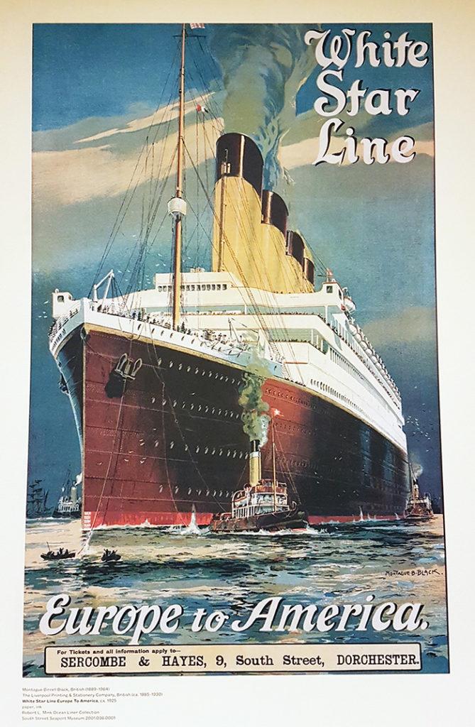 Afiche publicitario del Trasatlántico White Star Lines que viajaba entre Europa y América. Colección del Museo de SouthStreet Seaport. Foto de AHM