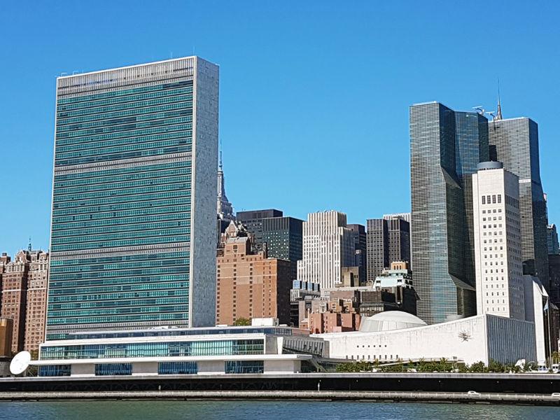 Edificio sede de las Naciones Unidas (ONU) visto desde Roosevelt Island - Foto de Andrea Hoare Madrid