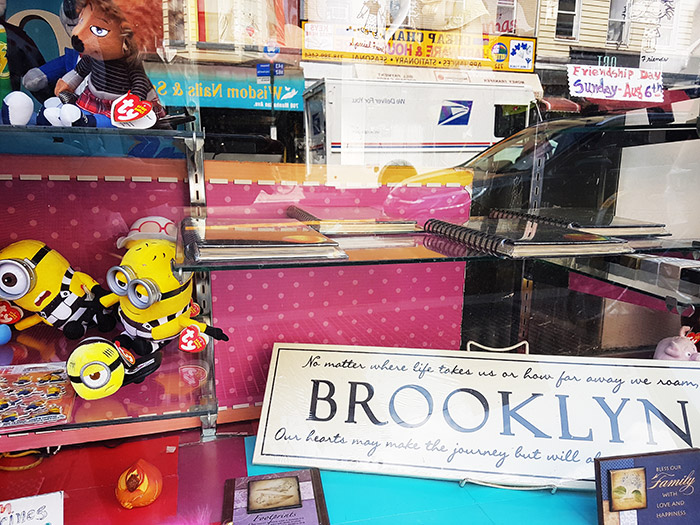 Vitrina de una tienda vieja en Greenpoint Brooklyn vendiendo cachivaches - Foto de Andrea Hoare Madrid