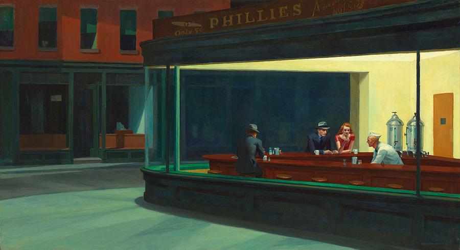 Cuadro Noctámbulos (Nighthawks) de Edward Hopper 1941. Dominio Público, disponible en https://commons.wikimedia.org/w/index.php?curid=25899486