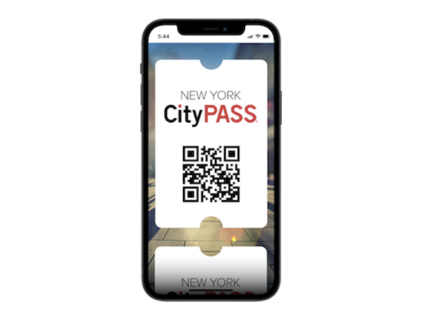Muestra de la entrada electrónica del City Pass en un celular, código QR con las entradas. Captura de Pantalla del sitio oficial https://es.citypass.com/new-york