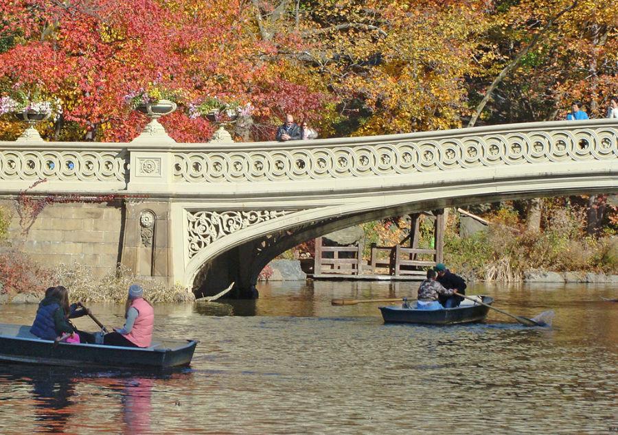 Personas en botes de remos cruzando bajo el Bow Bridge en The Lake de Central Park - Foto de AHM